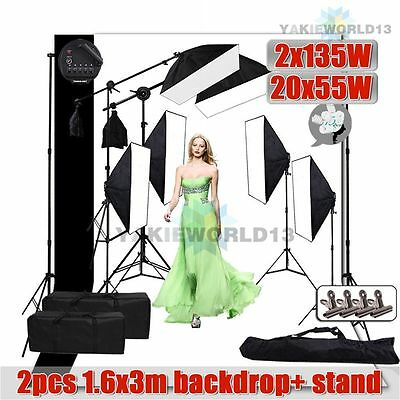 6850W Photo Studio Softbox Continuous Lighting Boom Light 2x Backdrop Stand Kit