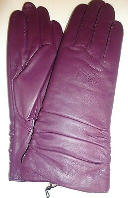 Ladies Fownes Ruched Cuffs Thinsulate Genuine Leather Gloves,Purple, Medium