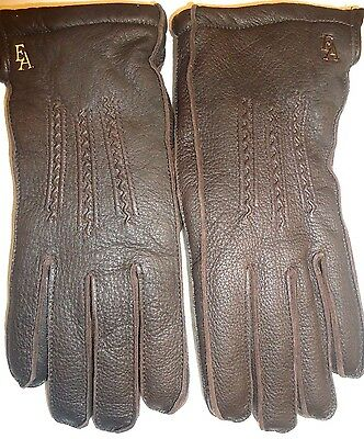Ladies Etienne Aigner Thermolite Insulated Genuine Leather Gloves,Brown,Medium