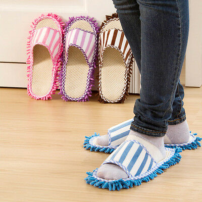 4 Colors Microfiber Durable Cleaning Slippers Mop Slippers Shoes Floor Wipe Dust