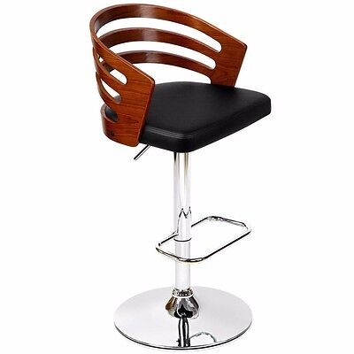 Wooden Bar Stool PU Faux Leather Kitchen Dining Chair Foam Padded Gas Lift