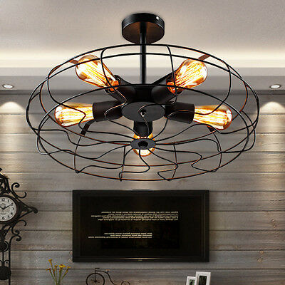 Vintage 5-Light Wrought Iron Black Fan Ceiling Light Chandelier Semi Flush Mount