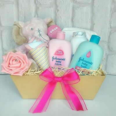 Baby girl hamper gift basket baby shower gift pink baby girl