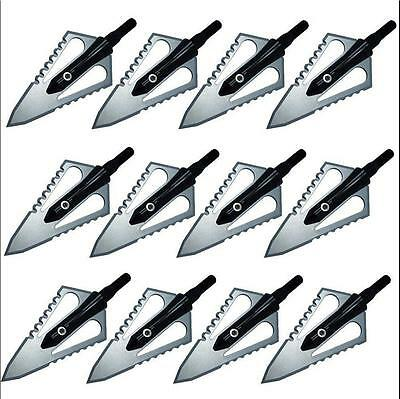 12pcs UK Broadheads Steel Hunting Solid Stainless Points Arrow Heads