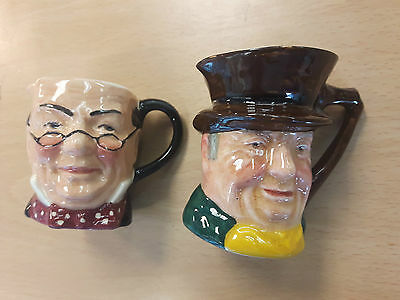 Vintage Retro Sandland Lancaster Pair Of Small Character Jugs