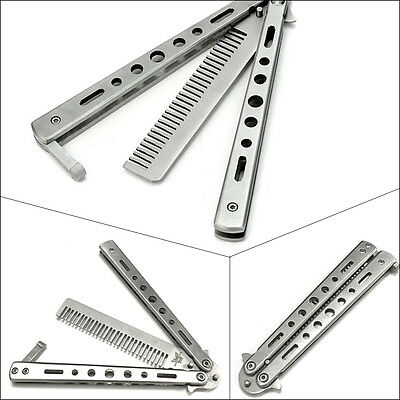 UK Silver Metal Practice Balisong Butterfly Comb Knifes Sports Trainer Tool