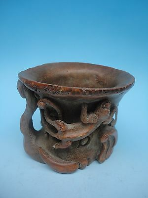Collected China Ancient Bamboo Manual Carving Elephant Dragon Cup or Brush Pot