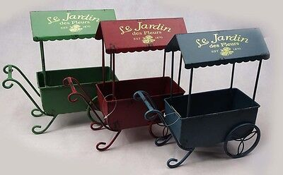 Le Jardin Des Fleurs  Vintage Garden Metal Wheel barrow Flower Planter 3 Colours