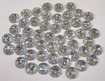 50 hologram round 15mm faceted acrylic rhinestones/gems/jewels,sew on,flat back