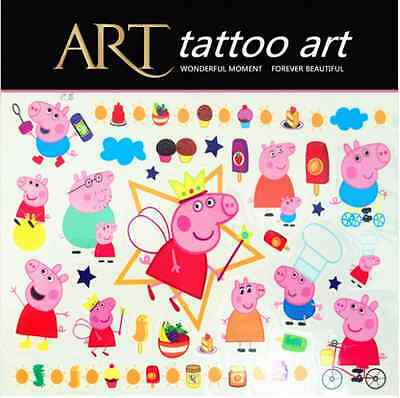 Tatouage Temporaire enfant Peppa pig Georges papa  maman papy mamie PIG  Z9