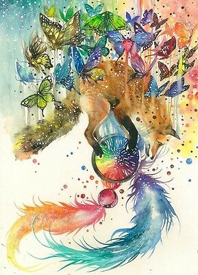FOX AND BUTTERFLIES WATERCOLOUR ART IMAGE  A4 Poster Gloss Print Laminated