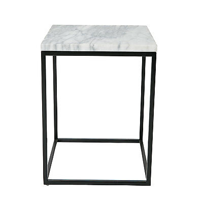 Square White Marble Side Table