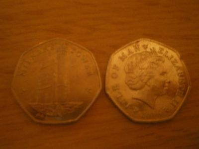 Collectible Rare 50p Coin  Isle of Man Milners Tower DATES FROM 2008/09/12/14/15