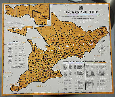 Rare Vintage 1958 Know Ontario Better Jigsaw Puzzle Map Counties Districts
