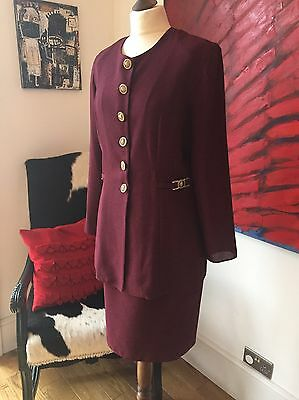 Vintage Suit Size 14 By Rhythm Clothing Jacket And Skirt Plum Red