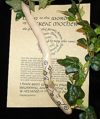 Hand Crafted Ivy Wand with Ivy Leaves + Agate & Turquoise Stones. Pagan/wiccan