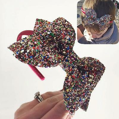 Kids Toddler Baby Bowknot Headband Bling Hair Band Infant Head Wrap