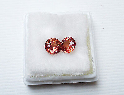 Two Round Faceted Rose Malaya Garnet Pink Gemstones