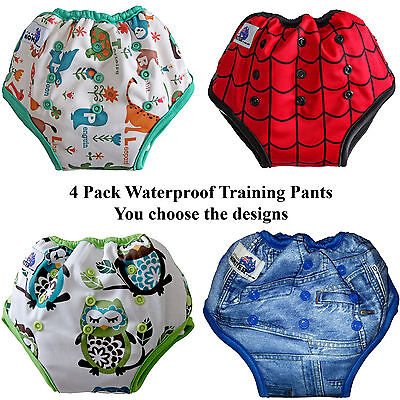 Bamboo Training Pants Waterproof Adjustable Size pocket to add absorbency 4 pack