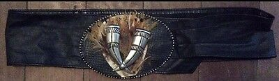 Unusual Genuine Vintage Leather Belt - With 3D Horns & FEATHERS