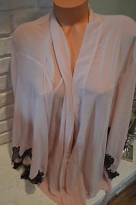 Victoria's Secret mauve black gold accent Angels one size robe komono shortie
