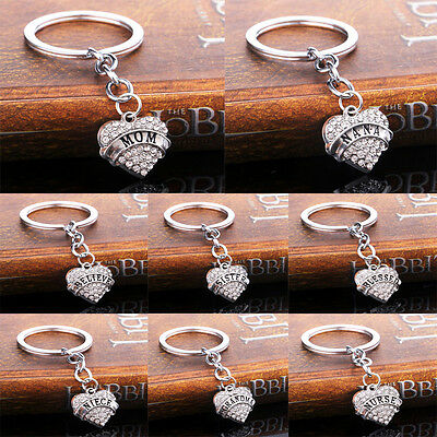 Heart Crystal Pendant Family Rhinestone Key Chain Ring Keychain Keyring Gifts