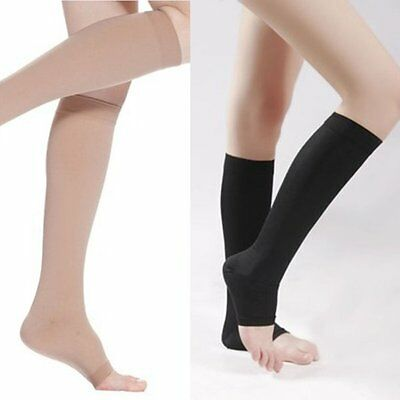 Open Toe Compression Comfortable Socks Knee High Support Stockings 18-21mmHg UK
