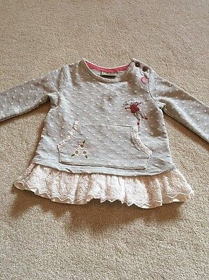 Girls Grey Jumper With Frill By Next  6-9 Month