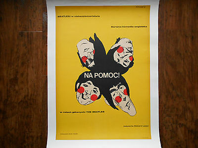 HELP! The BEATLES Poster Original 1967 POLISH 1st Release Linen backed Poster