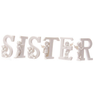 Home Decor Cute Cherub SISTER Letters Figurines Ornament Gift Ideas Height 6.5cm