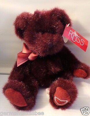 New with tags RUSS plush stuffed MINX burgundy teddy bear Thoughts of Love 10""