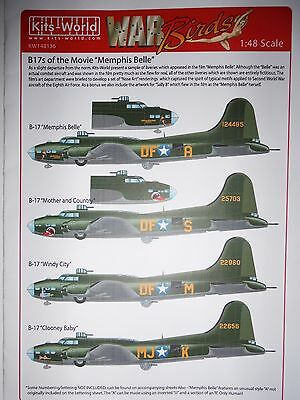 """Kits-World 1/48 B-17 's of the Movie """"Memphis Belle"""" decals"""