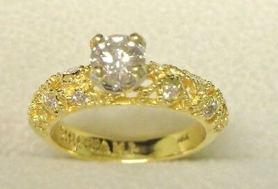 ZEGHANI 18 K Yellow Gold Diamond  Ring  Carved  Size 5