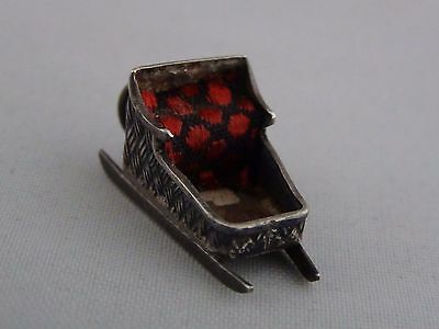Antique 800 - Sterling Silver Christmas Sleigh Sled Charm for Bracelet Portugal