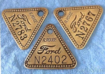 3 Factory Tool Check Brass Tags: FORD RIVER ROUGE; Original Automotive;