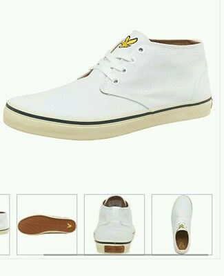 GENUINE Lyle & Scott White Quality Trainers Shoes Boots Mens/Kids UK 6 RRP £65
