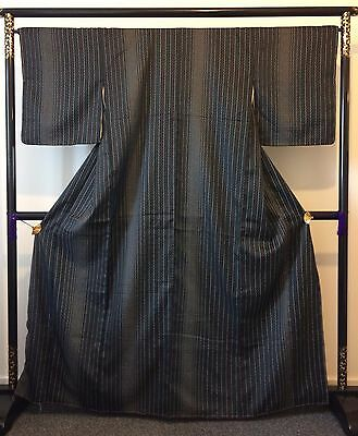 Authentic Japanese black kimono for women, made in Japan, good condition (J833)