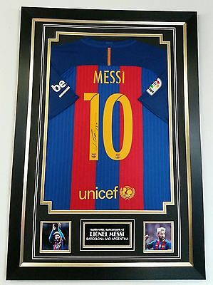 ** Rare LIONEL MESSI of Barcelona Signed Shirt Autograph Display with COA **