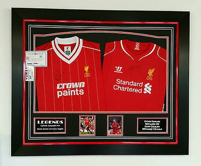*** Rare STEVEN GERRARD and KENNY DALGLISH of Liverpool Signed Shirt Display **