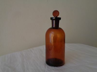 Antique Apothecary Chemist Amber Bottle w Glass Stopper