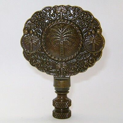 "VINTAGE PALM TREE LAMP FINIAL ~ Antique Brass Finish  { 3 1/4"" Tall } ~ #LE18"