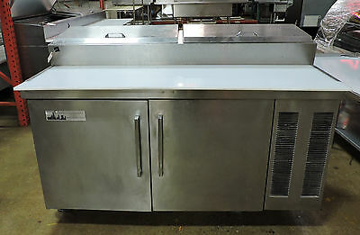 """Used 60"""" Stainless Steel 2 Door Refrigerated Pizza Prep Table"""