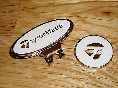 Taylormade magnetic golf ball marker with matching clip    (White)    .11