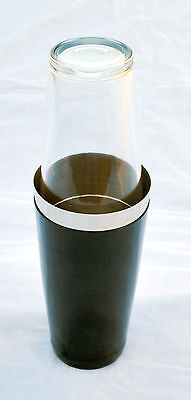 Black Vinyl Coated Boston Can 28oz & 160z Flair Glass | Cocktail Shaker