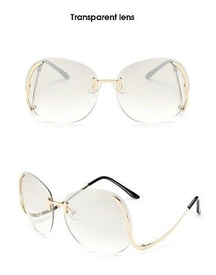 oversize vintage retro style sunglasses upside down gold frame clear lens sale
