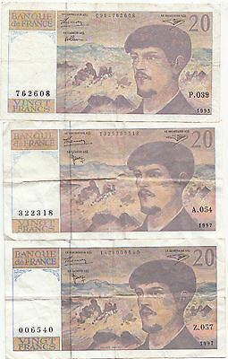 Lot de 3 billets Français 20 francs Debussy 1993-1997  TB