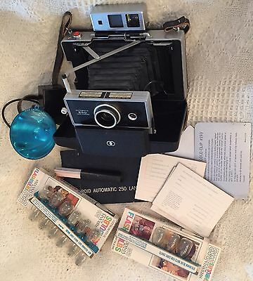 Vtg Polaroid Automatic 250 Land Camera With Flash Attachment And More