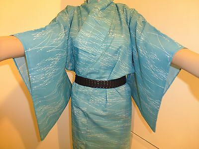 Authentic Japanese see through turquoise kimono for women, good condition (J835)
