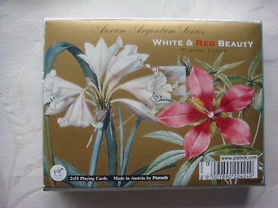 Playing Cards Piatnik White & Red Beauty Flowers Double Pack