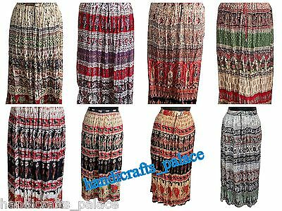 20 pcs Wholesale Lot Indian Handmade Rayon Skirt Wrinkle Long Skirt Casual Dress